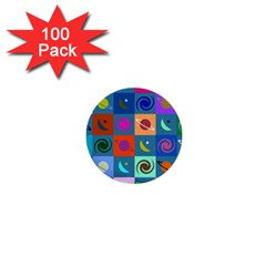 Space Month Saturnus Planet Star Hole Multicolor 1  Mini Buttons (100 Pack)  by AnjaniArt