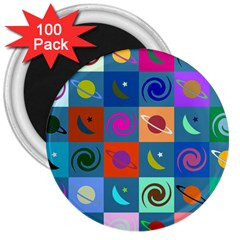 Space Month Saturnus Planet Star Hole Multicolor 3  Magnets (100 pack) by AnjaniArt