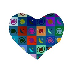Space Month Saturnus Planet Star Hole Multicolor Standard 16  Premium Flano Heart Shape Cushions by AnjaniArt