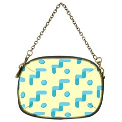 Squiggly Dot Pattern Blue Yellow Circle Chain Purses (two Sides)  by AnjaniArt