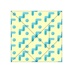 Squiggly Dot Pattern Blue Yellow Circle Acrylic Tangram Puzzle (4  X 4 ) by AnjaniArt