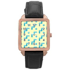 Squiggly Dot Pattern Blue Yellow Circle Rose Gold Leather Watch  by AnjaniArt