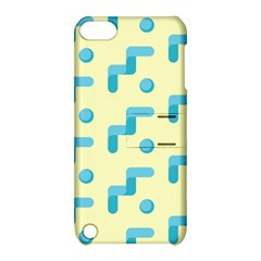 Squiggly Dot Pattern Blue Yellow Circle Apple Ipod Touch 5 Hardshell Case With Stand by AnjaniArt