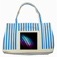Space Purple Blue Striped Blue Tote Bag by AnjaniArt