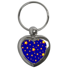Star Blue Sky Yellow Key Chains (heart)  by AnjaniArt
