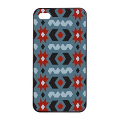 Star Wave Chevron Grey Gray Apple Iphone 4/4s Seamless Case (black) by AnjaniArt