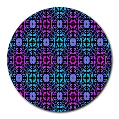 Star Flower Background Pattern Colour Round Mousepads by AnjaniArt