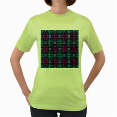 Star Flower Background Pattern Colour Women s Green T Shirt by AnjaniArt