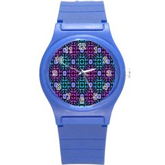 Star Flower Background Pattern Colour Round Plastic Sport Watch (s) by AnjaniArt