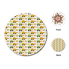 Turtle Green Yellow Flower Animals Playing Cards (round)  by AnjaniArt