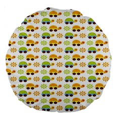 Turtle Green Yellow Flower Animals Large 18  Premium Round Cushions by AnjaniArt