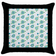 Valentine Chevron Papers Flower Floral Green Flowering Throw Pillow Case (black) by AnjaniArt