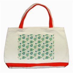 Valentine Chevron Papers Flower Floral Green Flowering Classic Tote Bag (red) by AnjaniArt