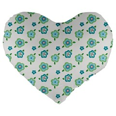 Valentine Chevron Papers Flower Floral Green Flowering Large 19  Premium Flano Heart Shape Cushions by AnjaniArt