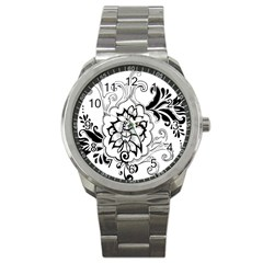 Free Floral Decorative Sport Metal Watch by AnjaniArt