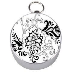 Free Floral Decorative Silver Compasses by AnjaniArt