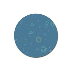 Geometric Debris In Space Blue Magnet 3  (round) by AnjaniArt