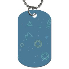 Geometric Debris In Space Blue Dog Tag (one Side) by AnjaniArt
