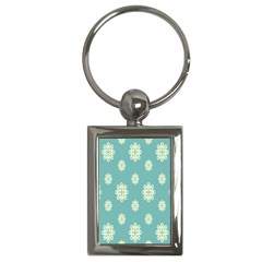 Geometric Snowflake Retro Snow Blue Key Chains (rectangle)  by AnjaniArt