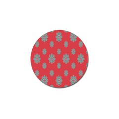 Geometric Snowflake Retro Red Golf Ball Marker by AnjaniArt