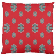 Geometric Snowflake Retro Red Large Cushion Case (one Side) by AnjaniArt