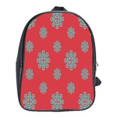 Geometric Snowflake Retro Red School Bags (xl)  by AnjaniArt