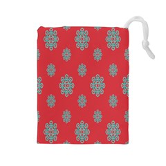 Geometric Snowflake Retro Red Drawstring Pouches (large)  by AnjaniArt