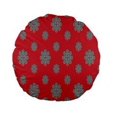 Geometric Snowflake Retro Red Standard 15  Premium Flano Round Cushions by AnjaniArt