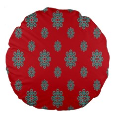 Geometric Snowflake Retro Red Large 18  Premium Flano Round Cushions by AnjaniArt
