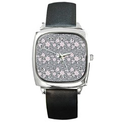 Gray Flower Floral Flowering Leaf Square Metal Watch by AnjaniArt