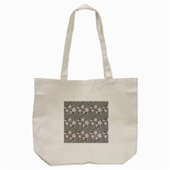 Gray Flower Floral Flowering Leaf Tote Bag (cream) by AnjaniArt
