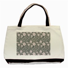 Gray Flower Floral Flowering Leaf Basic Tote Bag by AnjaniArt