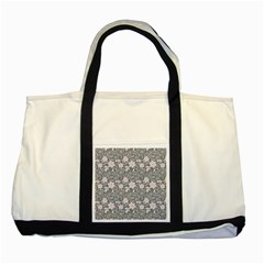 Gray Flower Floral Flowering Leaf Two Tone Tote Bag by AnjaniArt