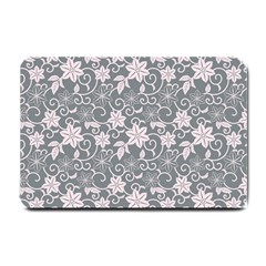 Gray Flower Floral Flowering Leaf Small Doormat  by AnjaniArt