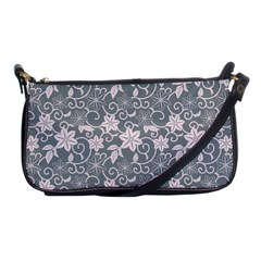 Gray Flower Floral Flowering Leaf Shoulder Clutch Bags by AnjaniArt