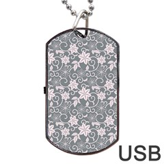 Gray Flower Floral Flowering Leaf Dog Tag Usb Flash (two Sides) by AnjaniArt