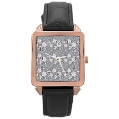 Gray Flower Floral Flowering Leaf Rose Gold Leather Watch  by AnjaniArt