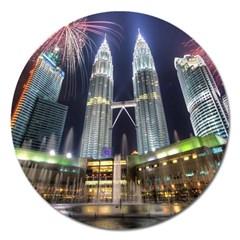 New Years Eve Petronas Towers Kuala Lumpur Malaysia Magnet 5  (round) by Onesevenart