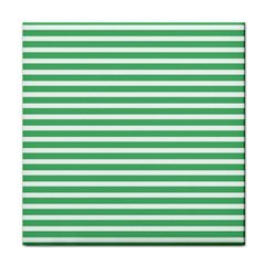 Horizontal Stripes Green Tile Coasters by AnjaniArt