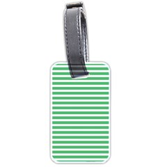 Horizontal Stripes Green Luggage Tags (two Sides) by AnjaniArt