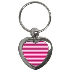 Horizontal Stripes Hot Pink Key Chains (heart)  by AnjaniArt
