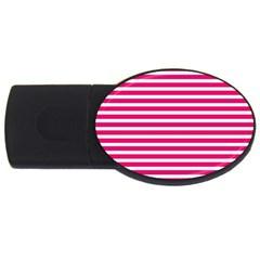 Horizontal Stripes Hot Pink Usb Flash Drive Oval (4 Gb) by AnjaniArt