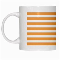 Horizontal Stripes Orange White Mugs by AnjaniArt