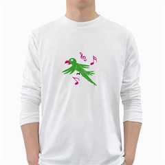Parrot Bird Green White Long Sleeve T Shirts by AnjaniArt