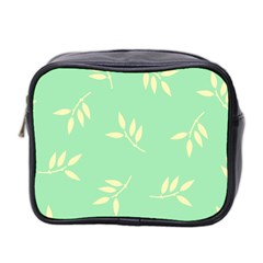 Pastel Leaves Mini Toiletries Bag 2 Side by AnjaniArt
