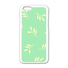 Pastel Leaves Apple Iphone 6/6s White Enamel Case by AnjaniArt