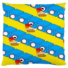 Machine Washing Clothes Blue Yellow Dirty Large Cushion Case (two Sides) by AnjaniArt