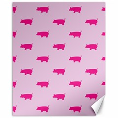 Pig Pink Animals Canvas 16  X 20   by AnjaniArt