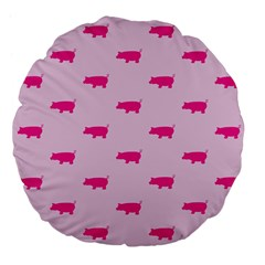 Pig Pink Animals Large 18  Premium Flano Round Cushions by AnjaniArt