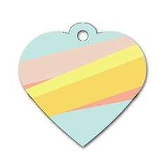 Pink Green Yellow Line Flag Dog Tag Heart (one Side) by AnjaniArt